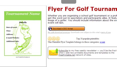 Flyers Af Templates Golf Tournament Contract Template