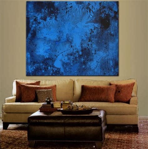 blue sapphire abstract paintings modern original 48x60