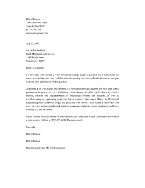cover letter for mechanical engineer mechanical design engineering cover letter sles and