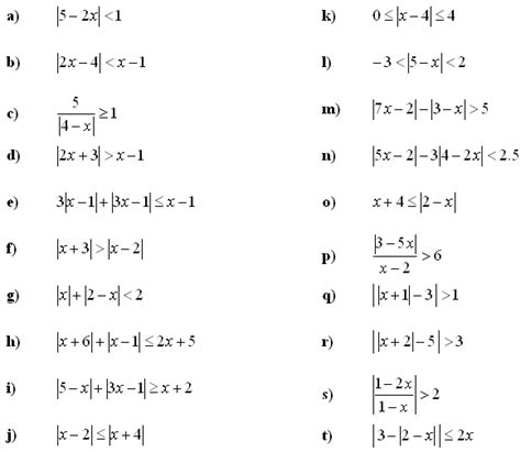 Equation And Inequalities Worksheets by Absolute Value Equations And Inequalities Worksheet