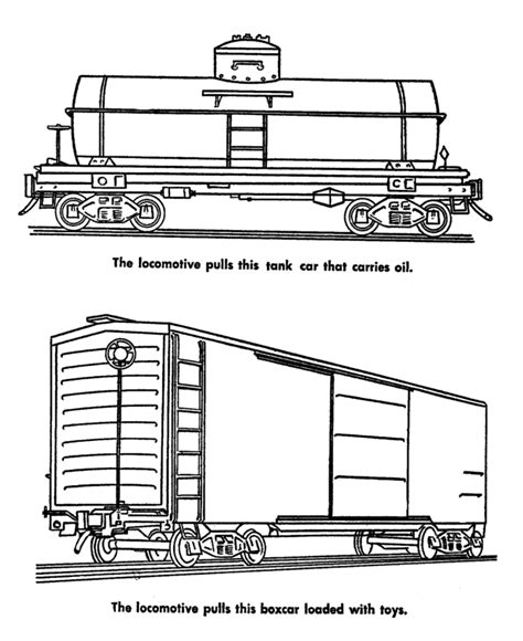 train and railroad coloring pages tank car and boxcar