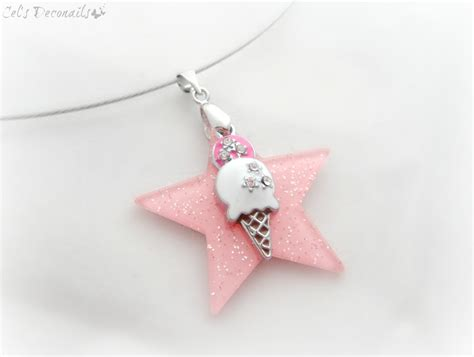 pink star necklace ice cream necklace pink star summer jewelry on storenvy
