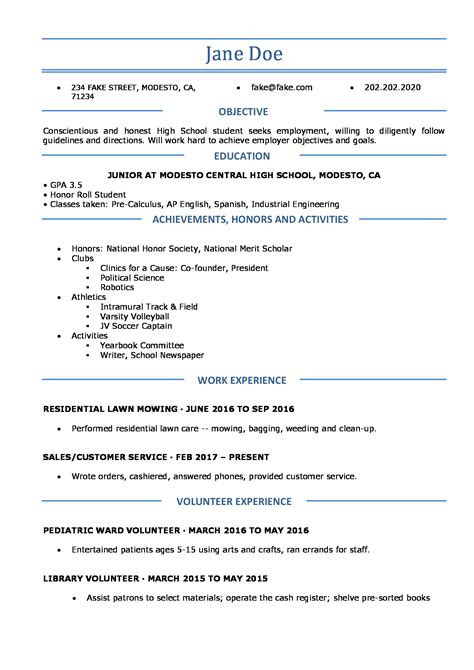 Resume Template For High School by High School Resume Resumes For High School Students