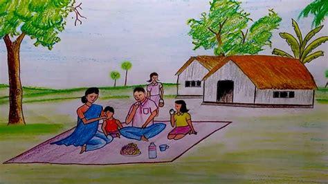 draw  scenery  family members step  step