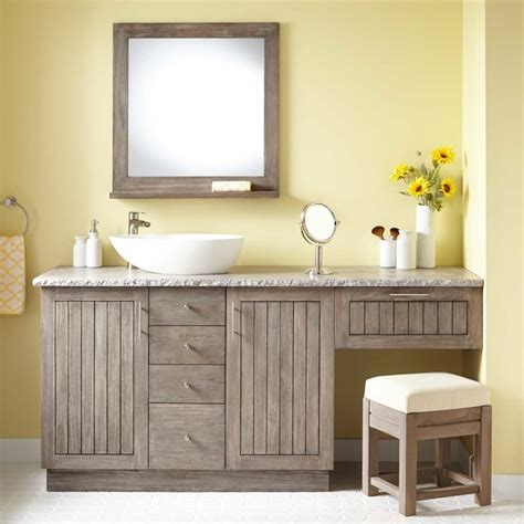 bathroom vanities makeup area 72 quot montara teak vessel sink vanity with makeup area