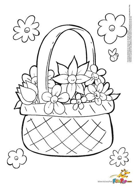 flower color pages flower basket coloring page coloring home