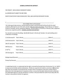 building contractor contract template sle contractor contract form 7 free documents in pdf