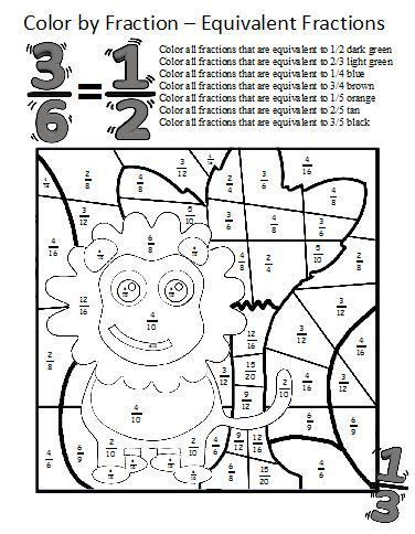 fraction coloring sheets equivalent fractions fractions worksheets and fractions