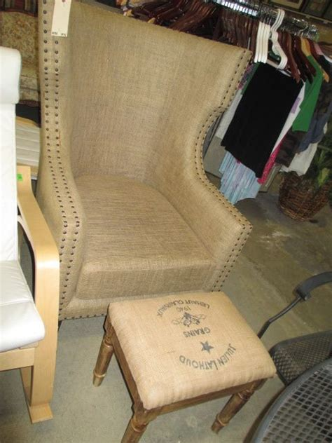nailheads upholstery burlap fabric with nailheads wing back chair and ottoman