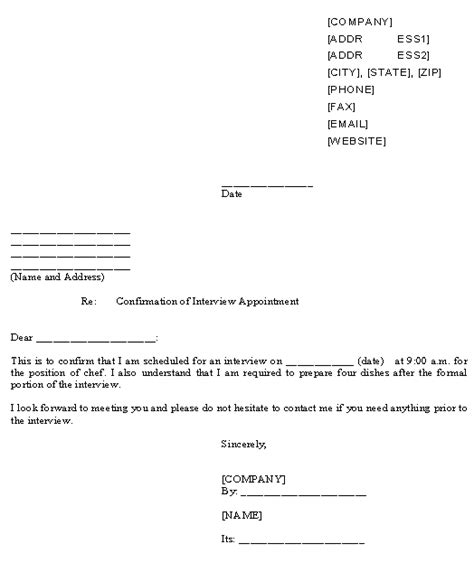 doc 524623 confirmation interview appointment sle