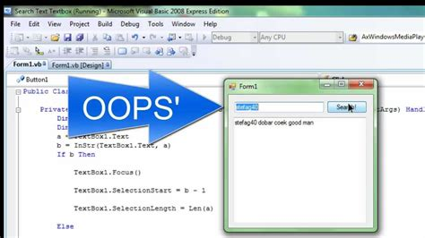 Find Text Tutorial Visual Basic 2008 2010 Search Text In Textbox