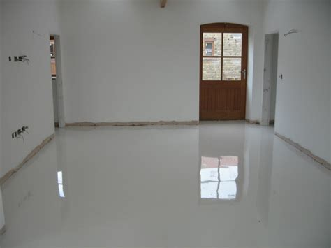 Poured Flooring by White Poured Resin Flooring Installed At Durham Farmhouse