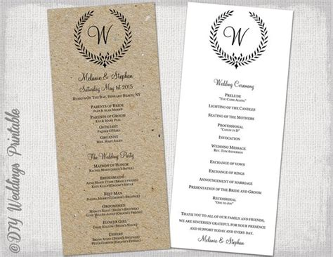 Wedding Program Template Rustic Black Leaf Garland Free Rustic Wedding Program Templates