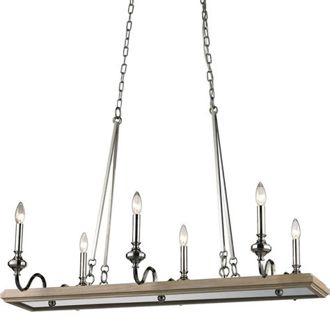 Rectangular Wood Chandelier 6 Light Rectangular Wood Tray Chandelier Washed Pine Tray Serves Up 6 Candle Lights To Add