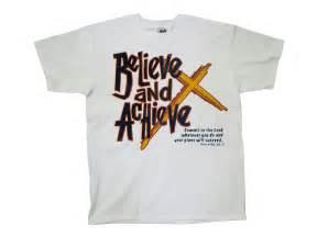 christian t shirt believe achieve cross design
