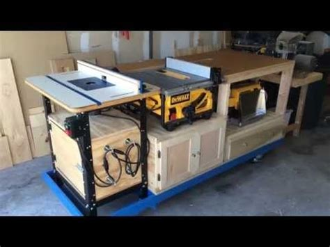 all in one table mobile all in one work bench built in table miter saw