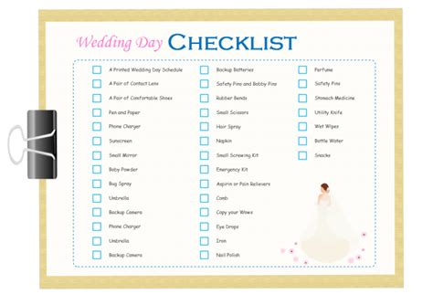 Wedding Day Checklist Template wedding day checklist free wedding day checklist templates