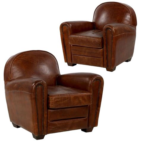 Worn Leather Armchair by Pair Of Deco Style Distressed Leather Club Armchairs