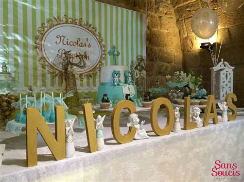 Dedication Decorations by Pastel Green Gold And White Baptism Ideas Baptism