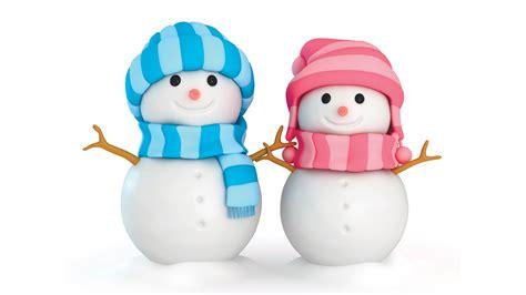 wallpaper snowmen boy girl winter scarfs blue pink  celebrations christmas