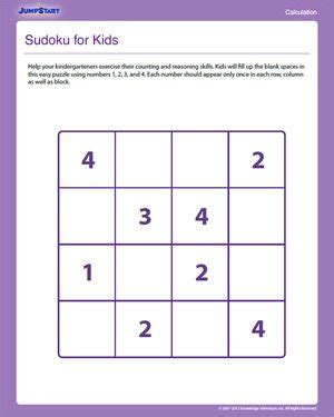 printable sudoku for preschoolers sudoku for kids free critical thinking worksheet for