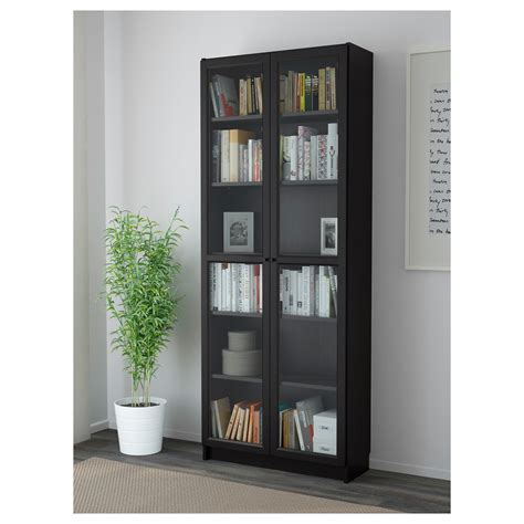 billy oxberg bookcase black brown 80x202x30 cm ikea