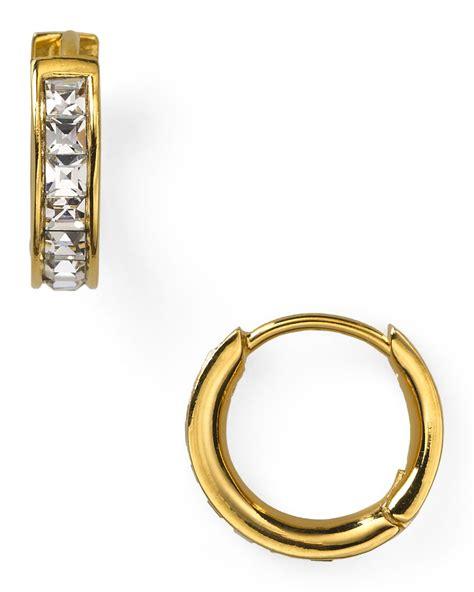 Allen Dons Gold Ribbed Hoop Earrings A La Hilary Duff by Nadri Tiny Channel Set Hoop Earrings In Gold Lyst