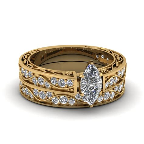 marquise cut antique filigree wedding set in 14k