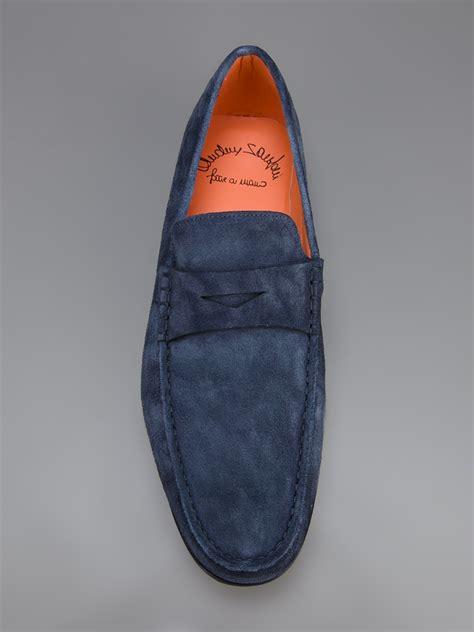 santoni loafer santoni loafer in blue for lyst