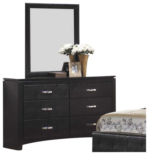 black bedroom dressers and chests coaster dylan faux leather 6 drawer dresser and mirror set