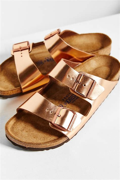 birkenstock arizona soft footbed metallic copper lyst birkenstock arizona metallic soft footbed sandal in