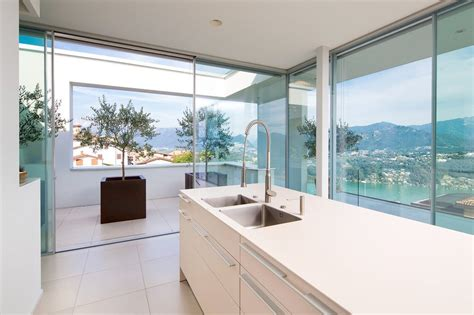 kitchen view minimalist mountain top home designed around panoramic