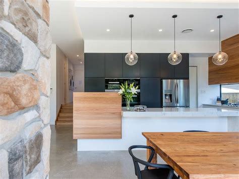 Light Pendants Over Kitchen Islands charcoal timber and white modern kitchen k i t c h e n