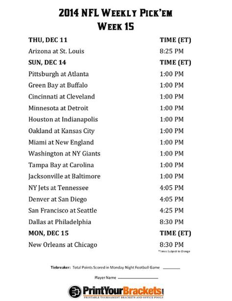 printable nfl schedule office pool printable nfl week 15 schedule pick em office pool 2014
