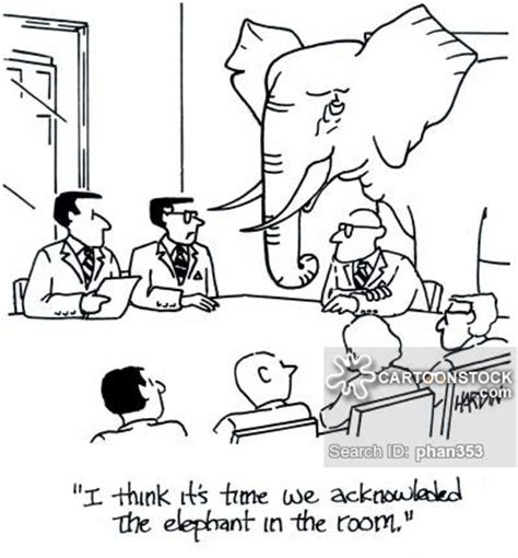 elephant in the room metaphor obvious and comics pictures from cartoonstock