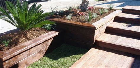 Privacy Fence Planter Box by Engineered Sleeper Retaining Walls Garden Planter Boxes