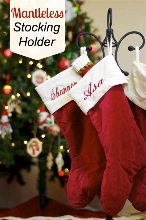 mantleless stocking holder use a fireplace tool holder