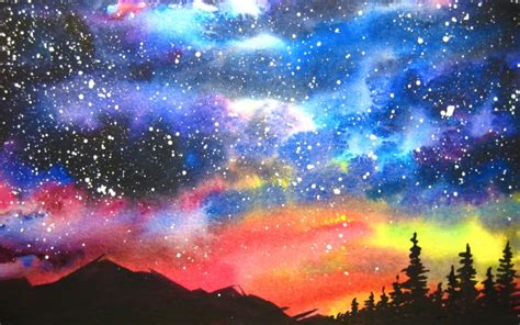 watercolor starry night sky speed painting youtube