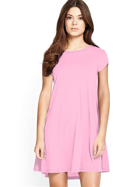 short sleeve swing dress glamorous short sleeve swing dress in pink pale pink lyst