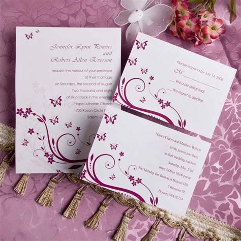 cheap wedding invitations purple butterfly wedding invitations with response