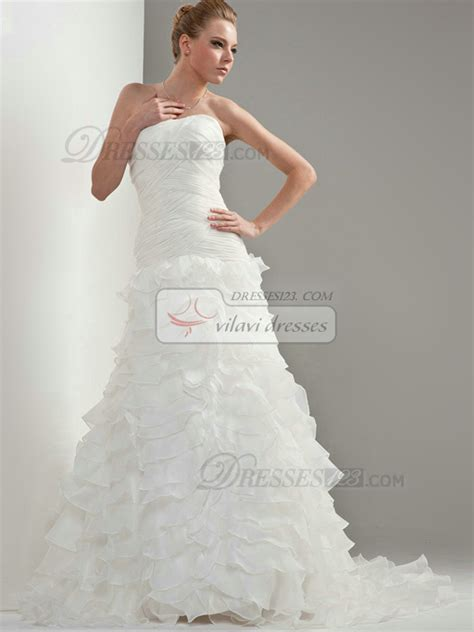 a line organza strapless up cascading ruffle