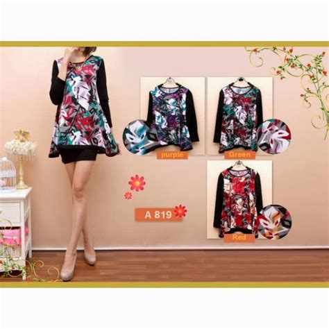 Baju Atasan Blouse Tunik Black Fall Flowers M Import Original toko baju november 2013alaska hijabers atasa