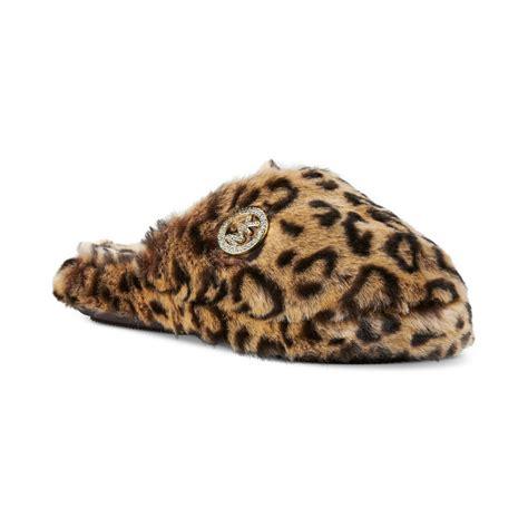 michael kors faux fur slippers michael kors faux fur slippers in animal cheetah lyst