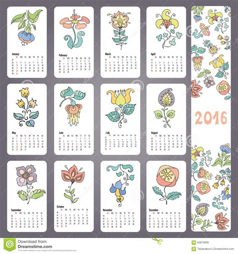 new year flower colors calendar 2016 with doodles flowers monthly cards stock
