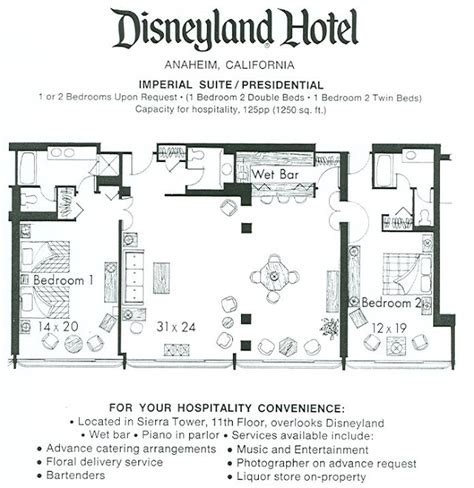 Disneyland Hotel 1 Bedroom Suite Floor Plan | the original disneyland hotel rare view inside the