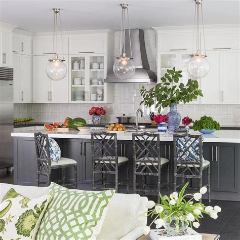 Grey Stools For Kitchen Island by Gray Kitchen Island With Gray Bamboo Counter Stools