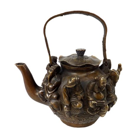 Household Decorative Items China Excellent Antique Metal Crafts Brass Teapot