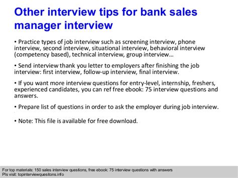 bank sales manager questions and answers