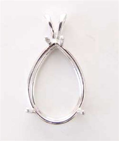 25x18mm pear shaped sterling silver pendant setting for