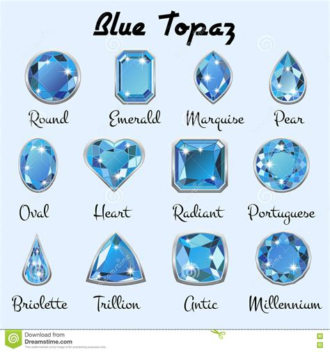 types of blue color types of cuts of blue topaz stock vector image 82043399